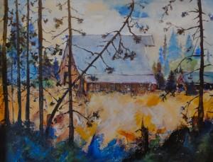 "Barn in the Woods:  Acrylic (20""x26"")."