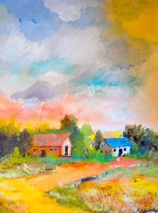 """Big Sky Country:  Gouche (12""""x16"""")"""