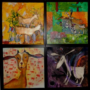 """2015 The Year of the Goat (16""""x16"""" Mixed Water Media) Bloomington Watercolor Society 2015 Membership Show Entry"""