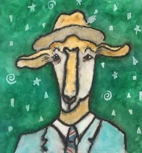 """Mr. Hollywood 8""""x8"""" canvas on art board Owner: Kathy Egawa"""