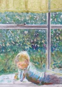 """Reader #3:  Watercolor (12""""x16"""") Original: Yetta Goodman (Tucson)"""