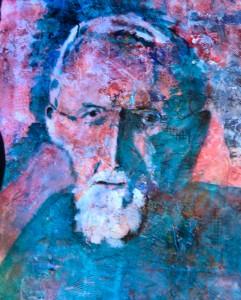 "Self Portrait: JCHarste 30""x38"" Acrylic Collage IU Foundation Collection"