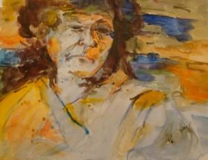 """Susan Boyle:  Watercolor (10""""x12"""").  Original:  Judith Newman (Halifax, Canada)"""