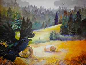 "Crows in the Hayfield:  Mixed Water Media (20""x24"")"
