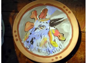 """Ceramic Plate (10"""") Original: Mitzi Lewison (Bloomington)"""