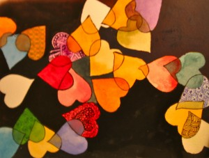 """Valentine's Day Watercolor with Zentangles, 12""""x16"""""""