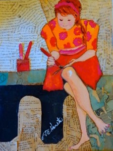 """Reader in Red 12"""" x 18"""" Gouache Collage Now part of the Collection of Tara Warmerdam (CA)"""