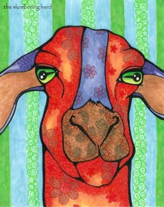 """Flower Power Goat 8""""x8""""  From the David Michaels Collection (OR)"""