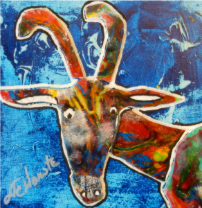 """Goat in the Headlights 8"""" x 8"""" Acrylic Skin Collage Part of the Collection of Josh Harste (MN)"""