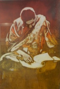 """Reading, Religion, & Ritual 24""""x18"""" Mixed Media From the Diane Stephens Collection (OR)"""
