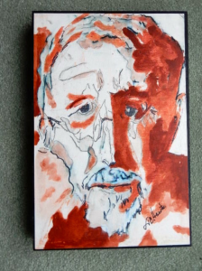 """Self-Portrait 12""""x18"""" on Cradle Board Owned by Peggy Albers (GA)"""
