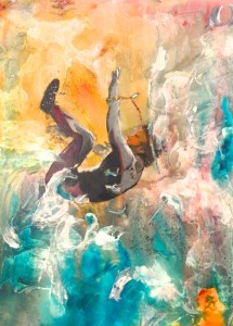 """Surfing Mishap 24""""x18"""" Acrylic From the Robert J. Tierney Collection"""