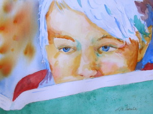 """Turquoise Reader 18""""x24"""" Watercolor From the Mitzi Lewison Collection"""