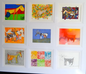 """Etude de Goats 39""""x30"""" Mixed Media Juried into the Hoosier Salon Show Owned by Mitzi Sailor and James Hoffman (TX)"""